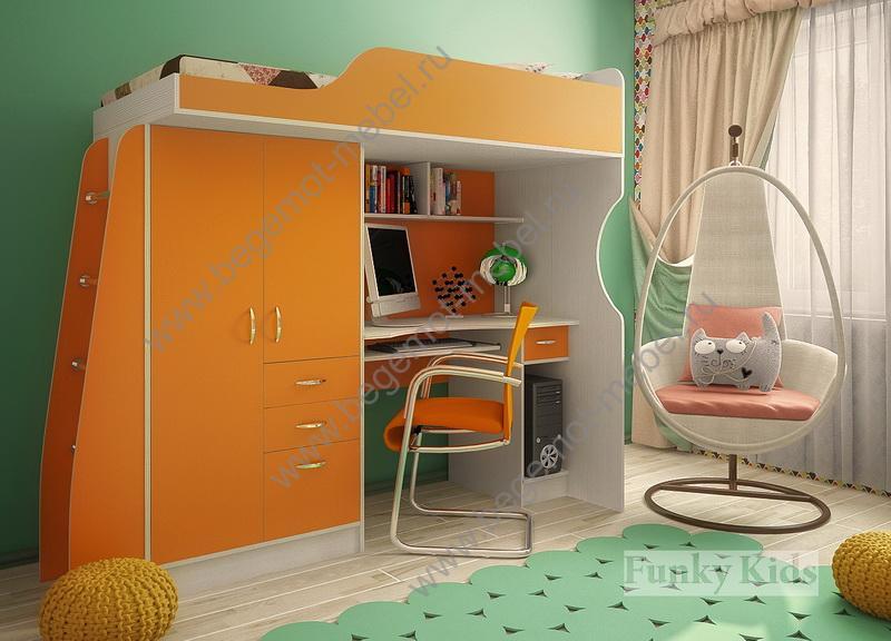 Детская мебель - моноблоки / кровать чердак фанки кидз :: кр.