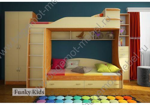 Детская мебель для двоих детей Орбита-12 дуб молочный розовый